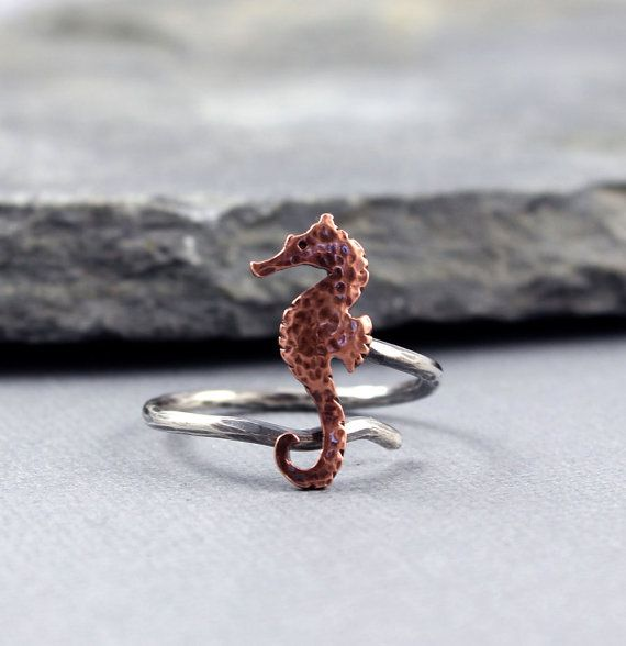 Seahorse copper adjustable ring