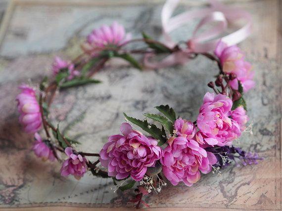 Flower Girl Crown Bride Hair Wreath Flower Head by TwoCatsAndAnOwl