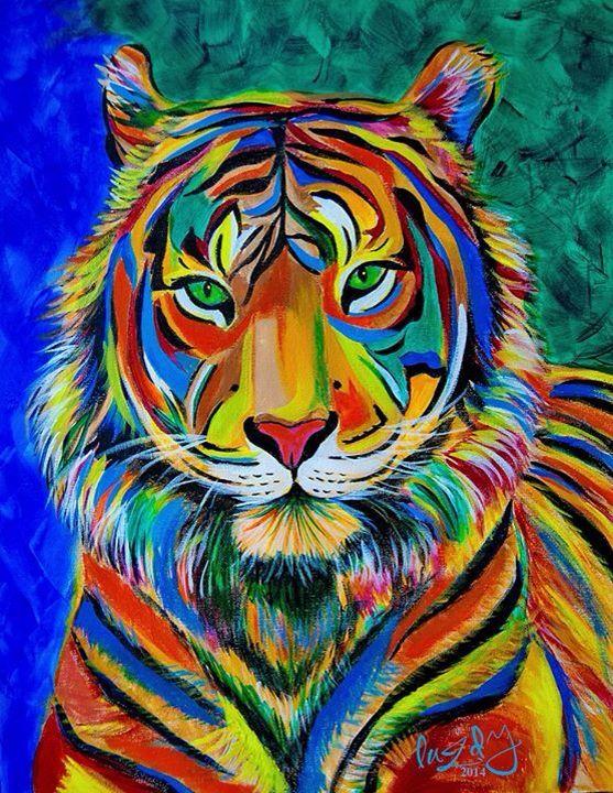 """Guardian of Aura"" tiger acrylic painting. Abstract Realism. Colorful painting. Colorful tiger. Abstract tiger. Amazing painting. Tiger painting. Luzdy Rivera. luzdyrivera@gmail.com"