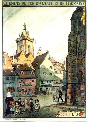 illustration française : affiche de tourisme, HANSI (Jean-Jacques Waltz dit), Colmar, Alsace, 1921