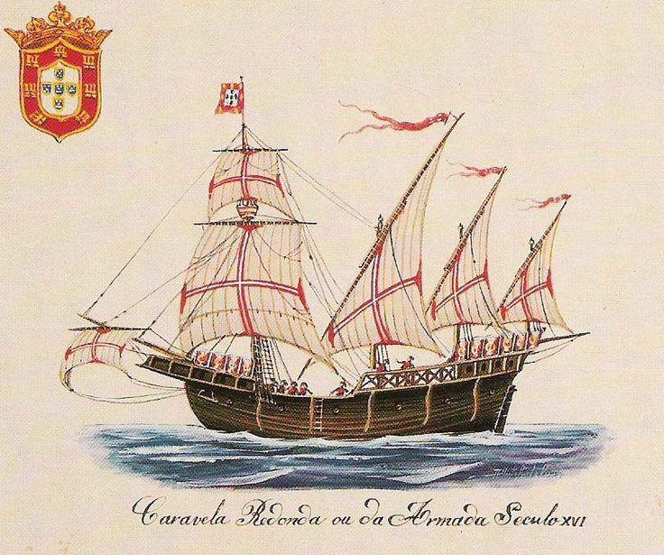 A caravela foi uma embarcação recriada pelos portugueses e usada durante a época dos descobrimentos nos séculos XV e XVI. Era uma embarcação rápida, de fácil manobra, capaz de bolinar e que, em caso de necessidade, podia ser movida a remos. Com cerca de 25 m de comprimento, 7 m de boca e 3 m de calado deslocava cerca de 50 toneladas, tinha 2 ou 3 mastros, convés único e popa sobrelevada. As velas latinas (triangulares) permitiam-lhe bolinar