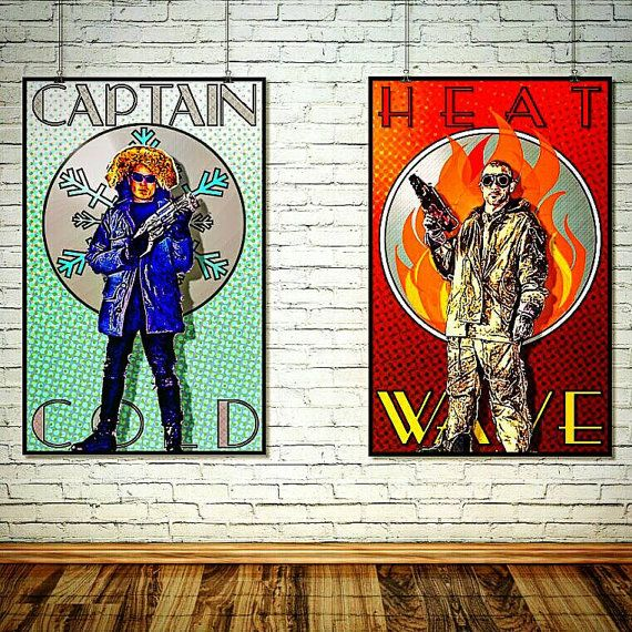 BUY AND TWO PRINTS AND GET THE THIRD ONE FREE! MESSAGE ME ABOUT COMBINED SHIPPING!  Captain Cold & Heatwave Poster Set - The Flash CW DC Legends of