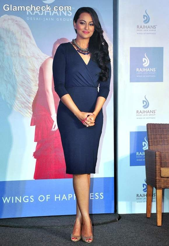 Sonakshi Sinha in Blue dress -  the New Brand Ambassador for Rajhans Group