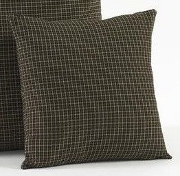"""Add decorative throw pillows to your couch. Our Kettle Grove Fabric Pillow 16"""" Filled are very versatile with their black and tan plaid fabric. https://www.primitivestarquiltshop.com/products/kettle-grove-fabric-pillow-16-filled #primitivecountryhomedecor"""