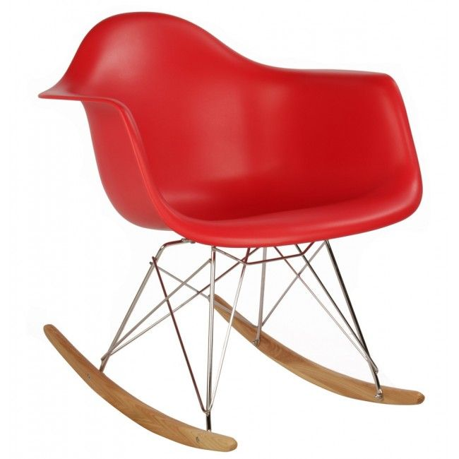 Eames Style RAR Molded Red Plastic Rocking Chair With Steel Eiffel Legs This Mid Century Retro Modern Is Based On The Design By Charles And
