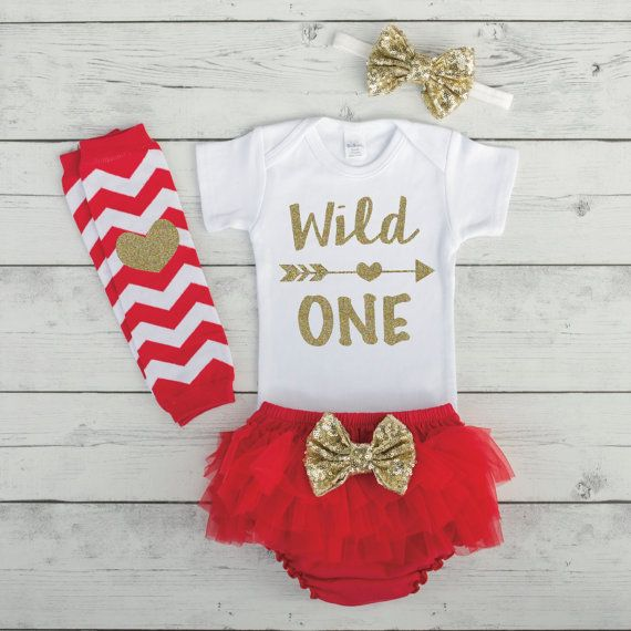 Wild One 1st Birthday Girl Outfit One Year Old Girls First Birthday Smash Cake Outfit Red and Gold First Birthday Outfit Girl by BumpAndBeyondDesigns