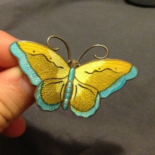"Hroar Prydz Norway Antique RARE Sterling Silver Enamel Large Butterfly Pin 2 5"" | eBay"