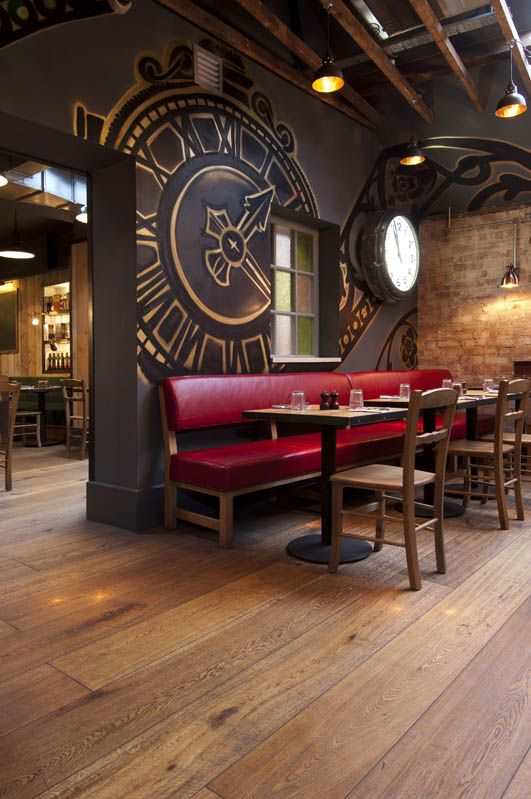 Kahrs Oak Casa Flooring installed at Jamie's Italian restaurant in York, UK. loving the clock