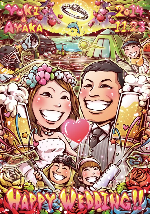 ビールでかんぱーい♪結婚式の似顔絵ウェルカムボード 結婚式のウェルカムボード Pinterest