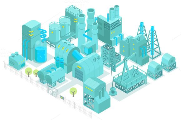 Factory, plant isometric set