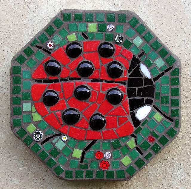 Lady Bug Mosaic Like Using The Black Marbles For The