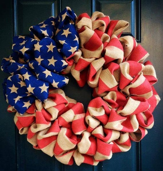 American Flag Fourth of July Burlap Wreath by tiffanynewcomb, $75.00 by Miriam E. Gutierrez Hollis
