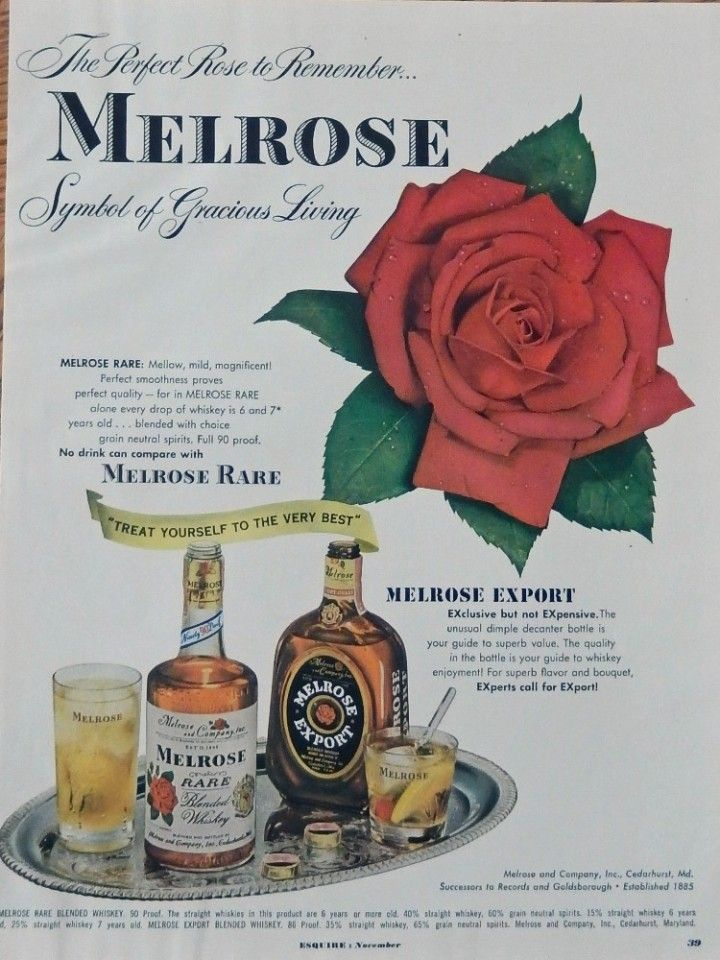 Melrose Rare Whiskey  40 s print ad  vintage color Illustration  silver tray of whiskey