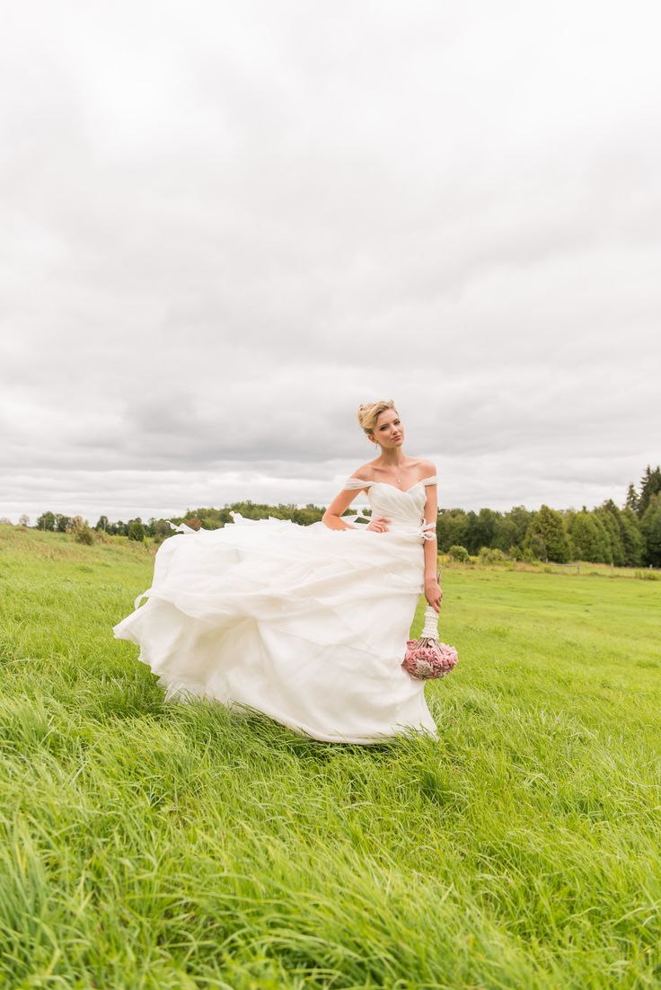 Beautiful photo of the fields @ Cambium Farms featured in Weddingstar Magazine.  Creative Production & Styling: Prelude to a Kiss Wedding Stylists & PK Social Events Photography: MugshotsPhotography.ca Dress: Ines Di Santo Makeup: Heather Snowie - Makeup Artist Hair: Sylvie Prud'homme from The Loft - Toronto
