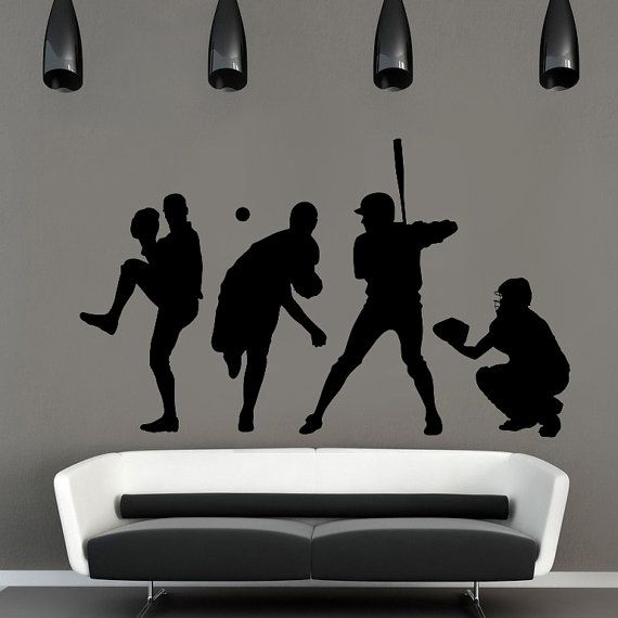 Large baseball players wall decal Baseball by Transformyourwall