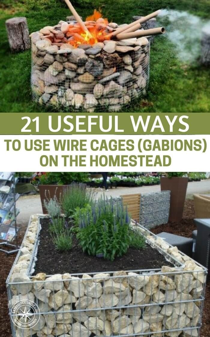 "21 Useful Ways To Use Wire Cages (Gabions) On The Homestead - Ever used the term ""gabion wall""? Sounds a little strange but it's basically just the marriage between rocks and wire. These two simple materials are very familiar and, taken separately, they can be very useful and versatile when it comes to DIY projects. But what about on the homestead? There are a lot of possibilities. #diy #homestead #homesteading #upcycle"
