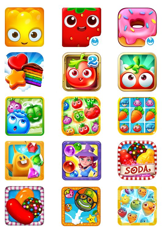 App Store Icons for Jelly Splash, Fruit Splash Mania, Cupcake Mania, Cookie Jame Garden Mania 2, Garden Mania, Farm Splash , Garden Heroes, Farm Fever, Diamond Digger, Bubble Witch, Candy Crush Soda, Candy Crush Saga, Papa Pear Saga and Farm Hero Saga. #Game Art #Game UI, App Icons