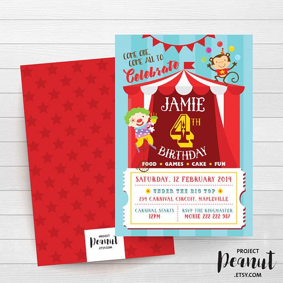 Carnival Birthday - Circus Invitation - Clown - Big Top - Circus Theme Party - Party Animal - 1st Birthday - Clown Invitation - Celebration Come one, come all and celebrate the birthday boy or girl with this personalised fun big top circus or carnival themed invitation.  PLEASE NOTE:  + You are purchasing a digital file only.  + NO PRINTED MATERIALS ARE INCLUDED!  + There are NO REFUNDS as this is a digital product.  + A reminder that this is a DIGITAL PRODUCT.  WHAT DO YOU GET? 4x6 inch…