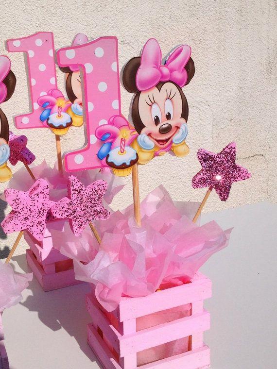 ♚ ♛ ♡ Centros de mesa Baby Minnie- Cumple Temático ♡ ♛ ♚ www.unabuenafiesta.com.ar
