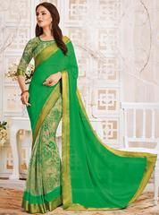 Green Color Georgette Festive Sarees With Banarasi Border : Aaravi Collection YF-64705