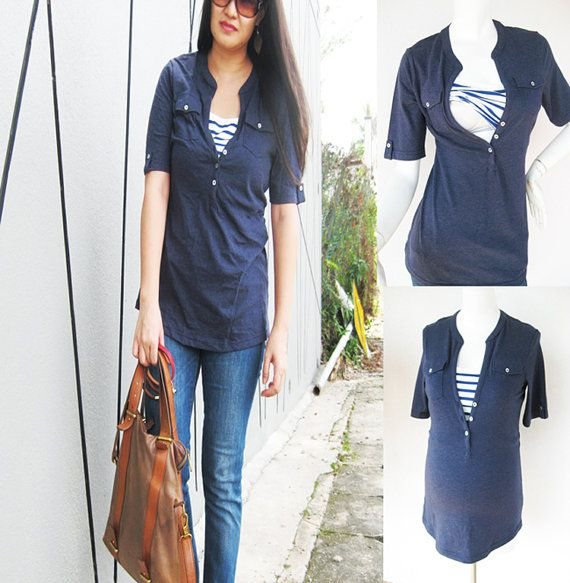 Maternity Clothing/ SARA Nursing Top Breastfeeding / Nursing Clothes NEW Maternity Shirt/ NAVY Pregnancy Clothes $36 size M