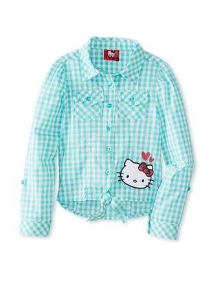 56% OFF Hello Kitty Girl's Tie Front Poplin Top (Cockatoo/Poplin)