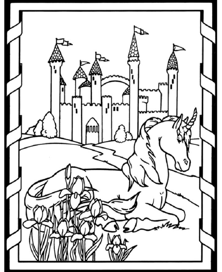 _ horse coloring page of unicorn from edwin landseer art - Amish Children Coloring Book Pages