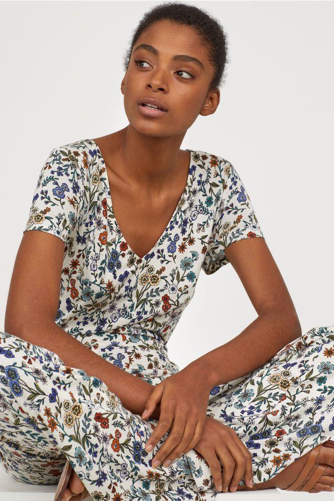 1106863c88 Jersey jumpsuit - Natural white Floral - Ladies