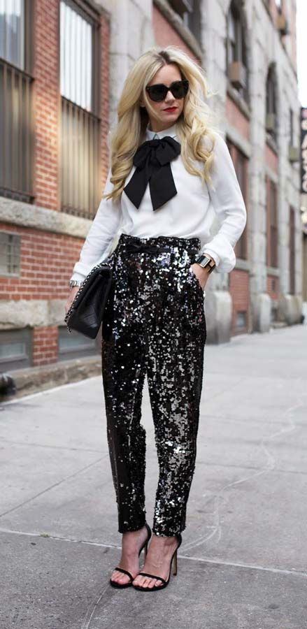 #sequined #black trousers #white shirt #outfit