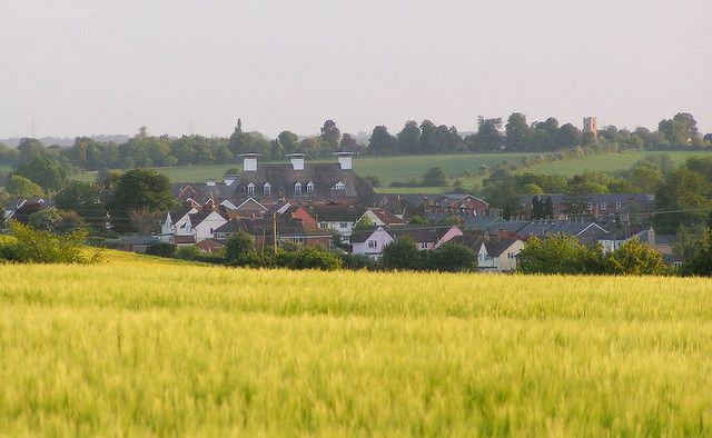 The old Maltings in Long Melford as seen from across the fields