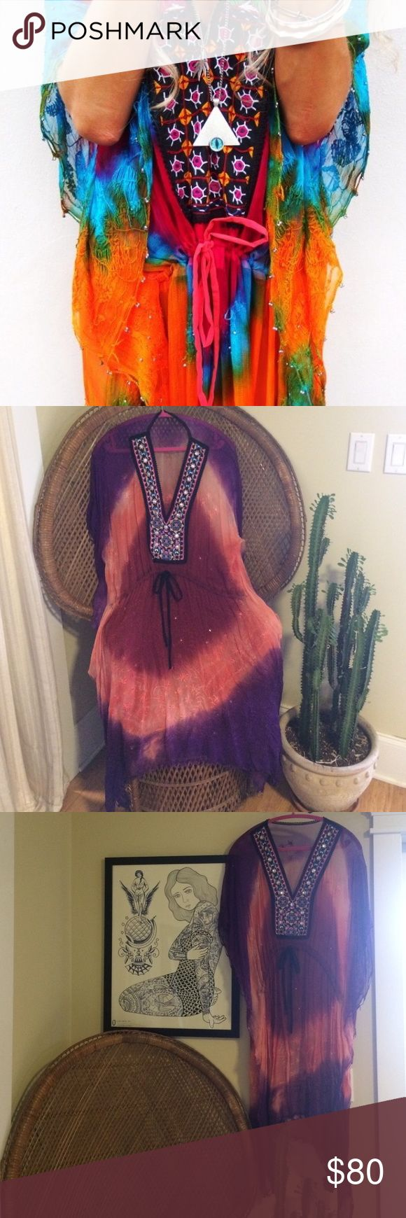 Rat & Boa Kaftan Festival Dress Gorgeous funky see-through Rat&Boa Kaftan dress. Purple/red/pink. Dress can be tightened at waist. Worn only once. I believe it is sized S however there is no tag. I am size 2-4 Dresses