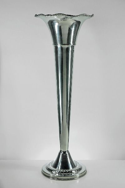 Aluminum Fluted 22 Quot Trumpet Vase Vase Silver And Silver Vases