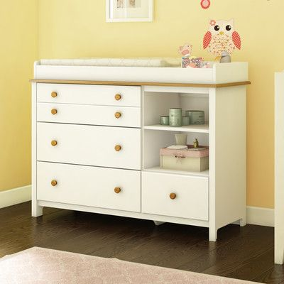 South Shore Little Smiley Changing Table In Pure White U0026 Harvest Maple  Transitional Changing Tables