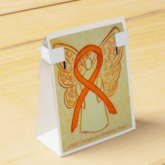 Orange Awareness Ribbon Angel Party Favor Boxes