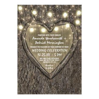 String Lights + Oak Tree Bark Wedding Invitations