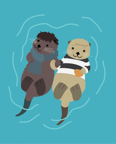 Sherlock and John as otters holding hands. // jawn really ought  to be a hedgehog, but this is still cute.
