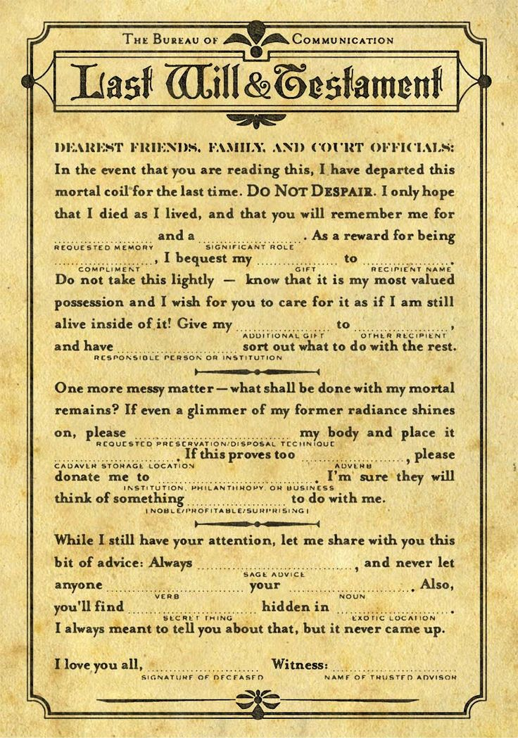 50 best Last Will n Testament images on Pinterest 52 weeks, At - last will and testament form
