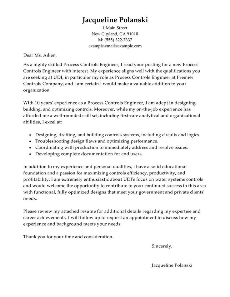 Help Writing Engineering Letter - Opinion of professionals