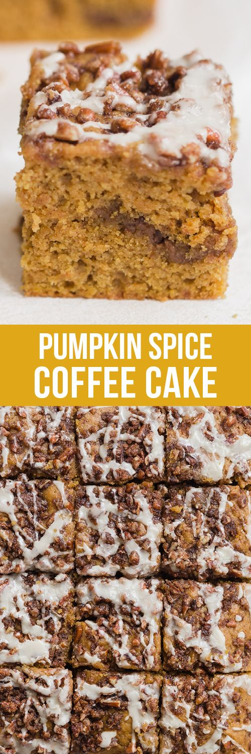 Pumpkin Spice Coffee Cake features a moist sour cream pumpkin cake loaded with brown sugar streusel and topped with a maple glaze. Such a family favorite!