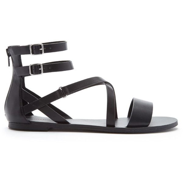Forever 21 Women's  Strappy Faux Leather Sandals found on Polyvore featuring shoes, sandals, flats, footwear, vegan shoes, strappy platform sandals, vegan sandals, forever 21 shoes and t-strap flats
