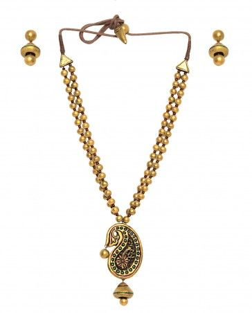 Golden Beaded Necklace Set with Paisley Pendant
