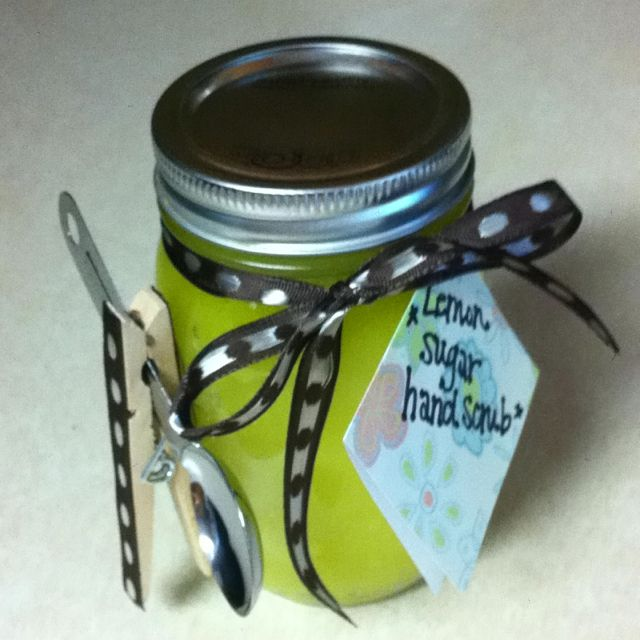 Lemon sugar hand & foot scrub recipe: 1 cup of extra virgin olive oil, 2 1/2 cups of sugar, juice of four lemons or 4 tbsps of lemon juice. Makes one 12 oz. jar of this fabulous, all-natural exfoliant for hands or feet.
