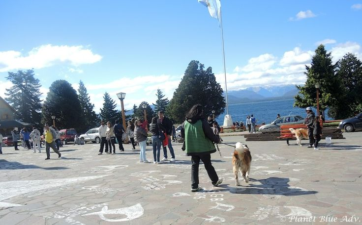 Civic Center Plaza, the town square  is also famous for its Saint Bernard dogs.  Owners wait for tourists to pose for photos with the their ...