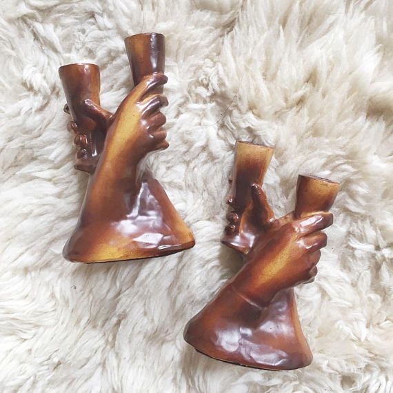 Vintage Carved Wooden Candle Holders // Rustic Hand Decor