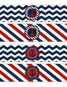 Instant Download Nautical Water Bottle Wrappers! JPEG 300 dpi Printable DIY! Anchors Navy Sailor Nautical Birthday, Navy Blue and Red on Etsy, $4.00