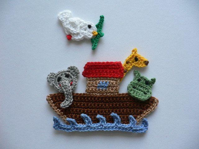 Arche Noah - Häkelapplikation von Spielkiste auf DaWanda.com
