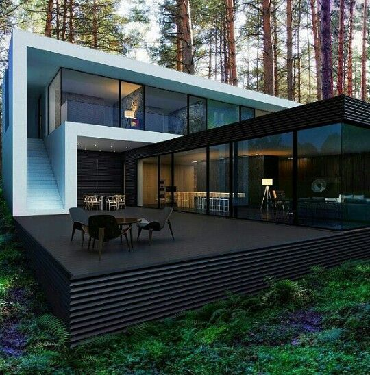 "Visions of the Future // ""To provide meaningful architecture is not to parody history but to articulate it"" - DANIEL LIBESKIND - (Contemporary House somewhere in the woods)"