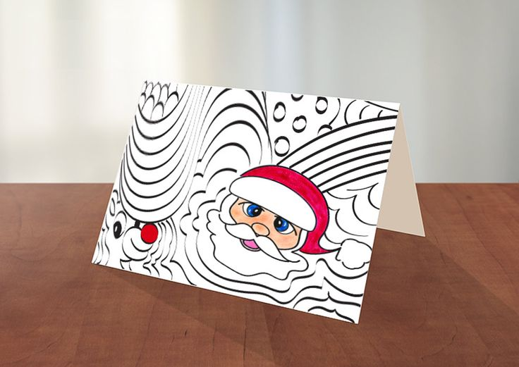 Printable Santa Christmas Coloring Card by GreetingsFromLisa on Etsy
