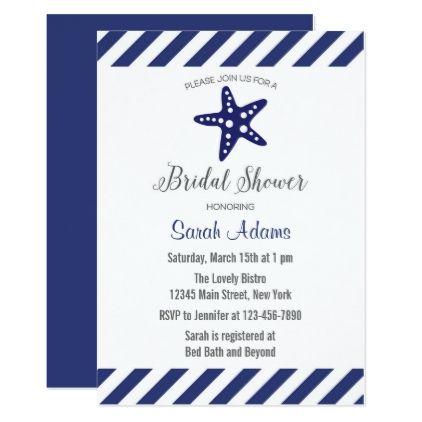 #invitations #wedding #bridalshower - #Nautical Starfish Chevron Bridal Shower Invitation