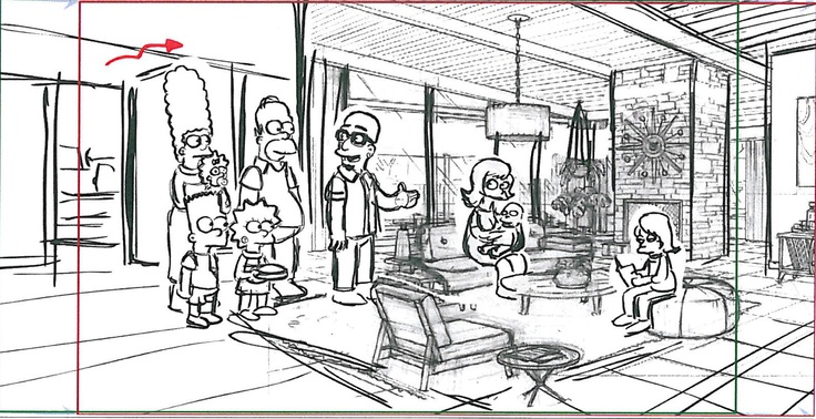 """Storyboard from the """"The Day The Earth Stood Cool"""" episode of THE SIMPSONS."""